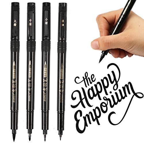Refillable Brush Marker Pens for Hand Lettering - 4 Size Black Calligraphy Ink Pen for Beginners Writing, Signature, Illustration, ()