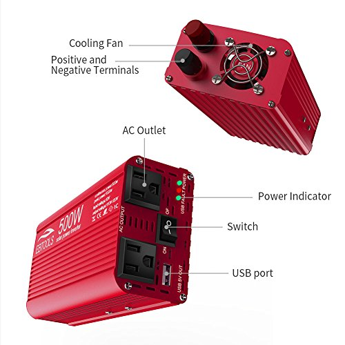 Car Power Inverter, EBTOOLS 500W/1000W Inverter 12V DC to 110V AC Car Converter with 2 AC Outlets and 2.1A USB ports for Laptop,Smartphone,Household Appliances in case Emergency, Storm and Outage by EBTOOLS (Image #7)