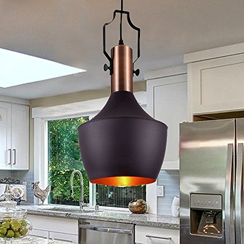 FOSHAN MINGZE 1-Light E26 Vintage Pendant Light Copper Finished Metal Hanging Ceiling Light Fixture Art Deco (Art Deco Ceiling Light Fixture)