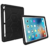 Poetic iPad Pro 9.7 Case - Poetic Rugged Protective Silicone Case [Corner/Bumper Protection][Grip][Sound-Amplification][Bottom Air Vents] w/Apple Pencil Holder for iPad Pro 9.7 (2016) Black
