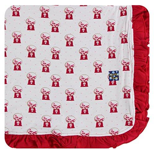 KicKee Pants Little Girls Print Ruffle Toddler Blanket - Natural Gumball Machine, One -