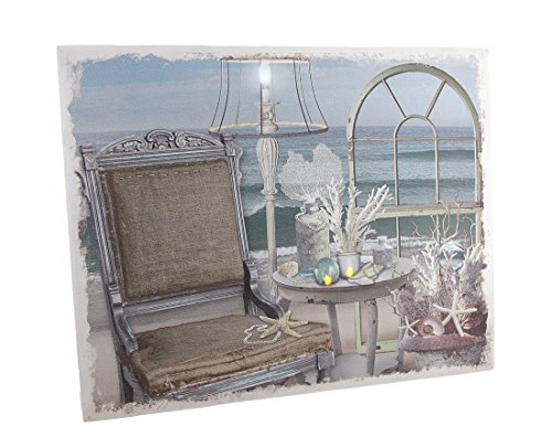 Zeckos Chic Seaside Retreat LED Lighted Canvas Wall Hanging (Retreat Tropical)
