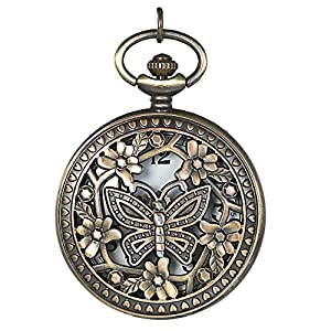 JewelryWe Retro Design Bronze Butterfly Flower Openwork Cover Pocket Quartz Watch with 31.5 Inch Chain for Valentine's Day