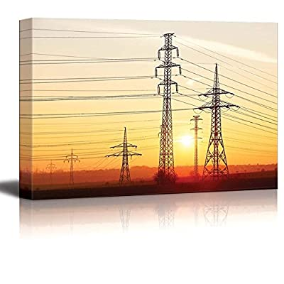 Beautiful Scenery of Electricity Pylons Electric Power Towers at Sunset - Canvas Art Wall Art - 16