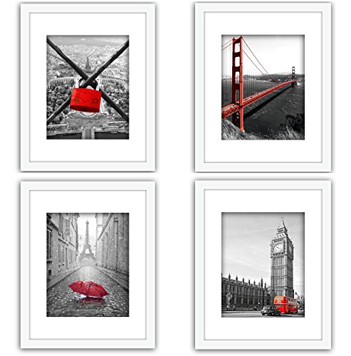 XUFLY 4Pcs 11x14 Tempered Glass Wood Frame White, with 3X Mat Fit 8x10 5x7 4x6 inch Family Photo Picture, Desktop On Wall Vertical Horizontal Support Office Decoration Flower Lotus Rose (29)