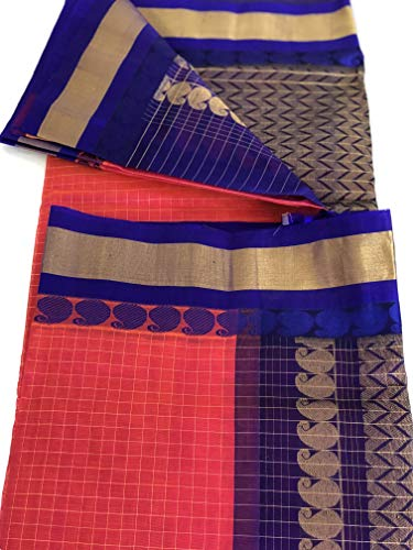 (Rainbow Collections South Pure Silk and Cotton Blend Saree with Gold Lines and Border in Royal Pink Saree Fall and Edge Fully Stitched. Blouse Fabric and Blouse Lining Included.)