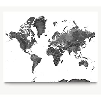 Amazon black and white world map unique design poster print map of the world black and white landscape art print earth gumiabroncs Choice Image