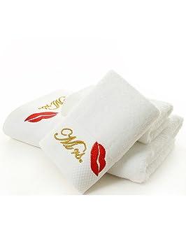 Señor y señora juego de toallas de baño toalla de mano paños 90% algodón bordado bigote labios rojos: Amazon.es: Hogar