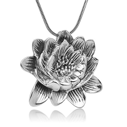 2d Pendant (925 Sterling Silver Blooming Lotus Flower Antique Design 2-D Pendant Necklace, 18 inches Chain)