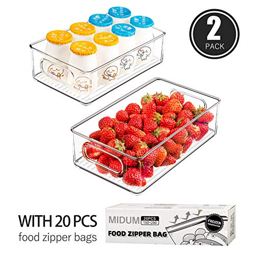 RefrigeratorOrganizerBins,2pcs Clear Plastic Stackable Fridge Containers with Handles for Freezer, Cabinet, Fridge, Kitchen Pantry Organization and Storage,BPAFree, 10\