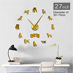 WANGJRU 27Inch American Pit Bull Decorative 3D DIY Wall Clock American Staffordshire Terrier Fashion Home Clock with Mirror Numbers Stickers 24