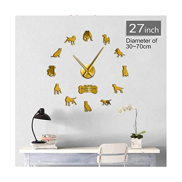 WANGJRU 27Inch American Pit Bull Decorative 3D DIY Wall Clock American Staffordshire Terrier Fashion Home Clock with Mirror Numbers Stickers 1