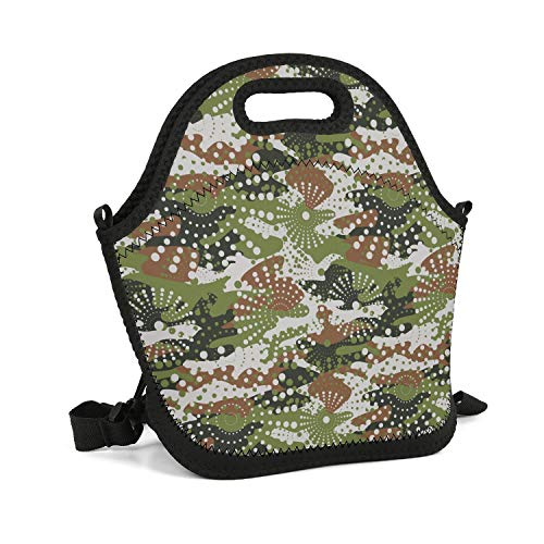 (SHIWERJHC Green Digital Camo Tactical Neoprene Lunch Tote Personalized Insulated Thermal Reusable Lunch Bag Box for Women Men Child School Work Outside Picnic)