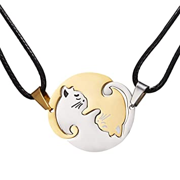 Fashion Stainless Steel Couple Cat Hug Love Pendant Necklace Family Jewelry Gift