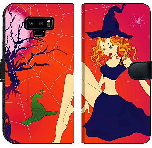 Liili Premium Samsung Galaxy Note9 Flip Micro Fabric Wallet Case Image ID 32883701 Elegant Halloween Girl with Green Eyes Among Sinister Cobwebs and Spiders in Moonlight - Spider Sinister