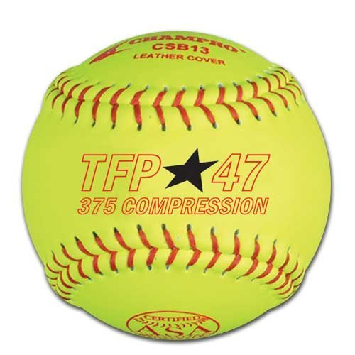 Champro ASA Tournament Leather Cover, Red Stiches (Optic Yellow, 11-Inch)