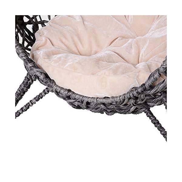 Panier Chat lit Chat Cosy Grand Confort dim. Ø 52 x 58H cm Coussin Moelleux Beige Inclus résine tressée Imitation rotin Gris