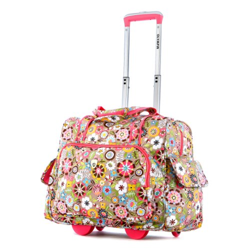 (Olympia Deluxe Fashion Rolling Overnighter, Tulip, One Size)