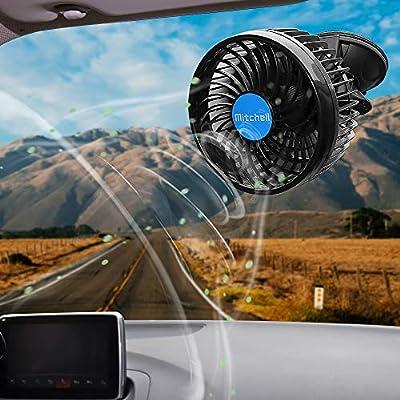 Ventilatore Auto 12 Volt Regolabile Basso Rumore Staffa Ventosa e Staffa per Sedile Posteriore Ventola di Raffreddamento per Auto Berline Fuoristrada Ventilatore Portatile USB