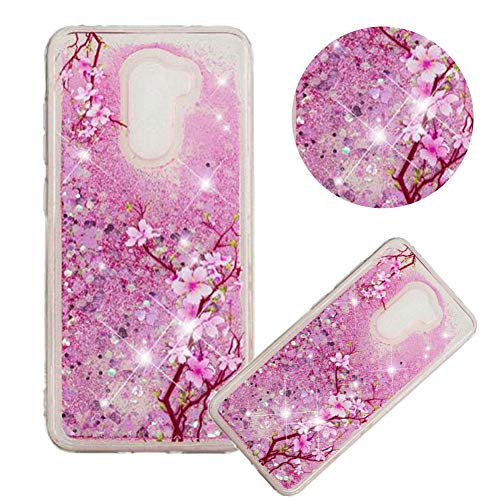 Glitter Painting Quicksand Case for Xiaomi Pocophone F1,Soft Clear TPU Case for Xiaomi Pocophone F1,Moiky Creative Cherry Blossoms Pattern Painted Liquid Sparkly Quicksand Crystal Protective ()