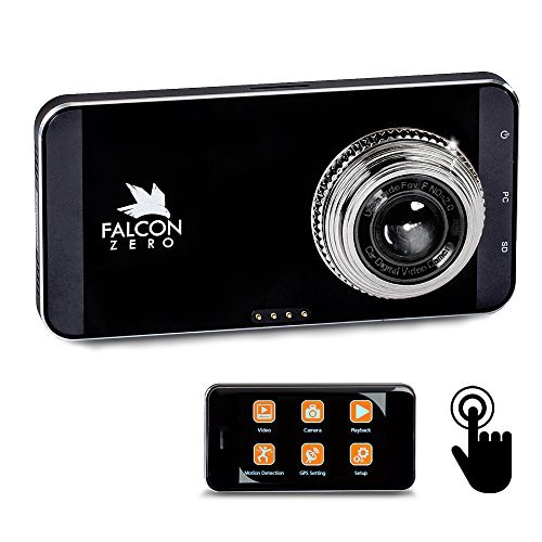 Falcon Zero Touch PRO HD Dash Cam [TOUCH SCREEN] 1080p 24/7 Surveillance, Multi Vehicle Use, 32 GB SD Card Included by Falcon Zero