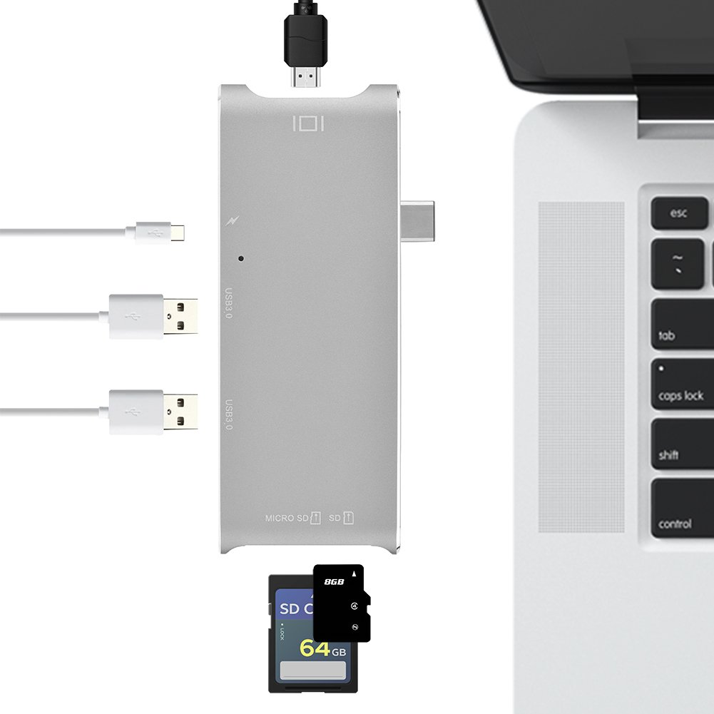 Fosa 6 In 1 USB3.1 Type-C to 2 Port USB 3.0 Hub TF / SD Card Reader with 4K HDMI & USB-C PD Port(Silver) by fosa (Image #5)