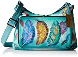 Anuschka Handpainted Leather Twin Top East West Organizer, Floating Feathers