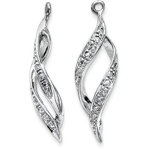 14k Gold Diamond Drop Jackets for Stud Earrings - (White-Gold) by Jewel Tie