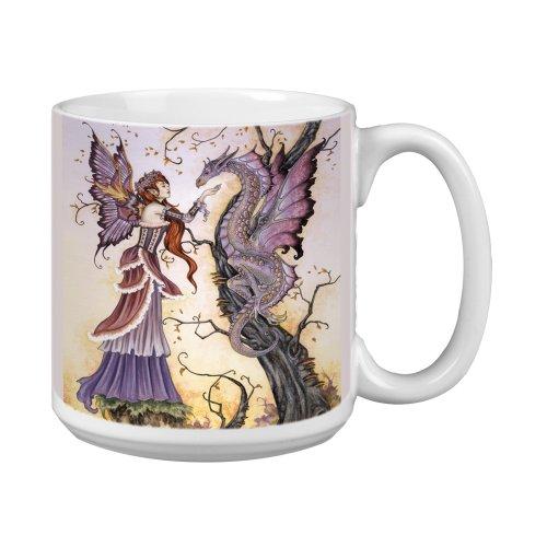 (Tree-Free Greetings XM27557 Amy Brown Artful Jumbo Mug, 20-Ounce, Fantasy The Dragon Charmer Fairy)