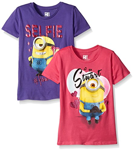 Despicable Me Big Girls' Value Pack T-Shirt Shirts, Purple/Pink, 12]()
