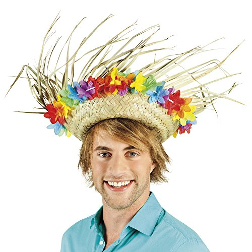 Adults Hawaiian Aloha Straw Hat with Flowers Fancy