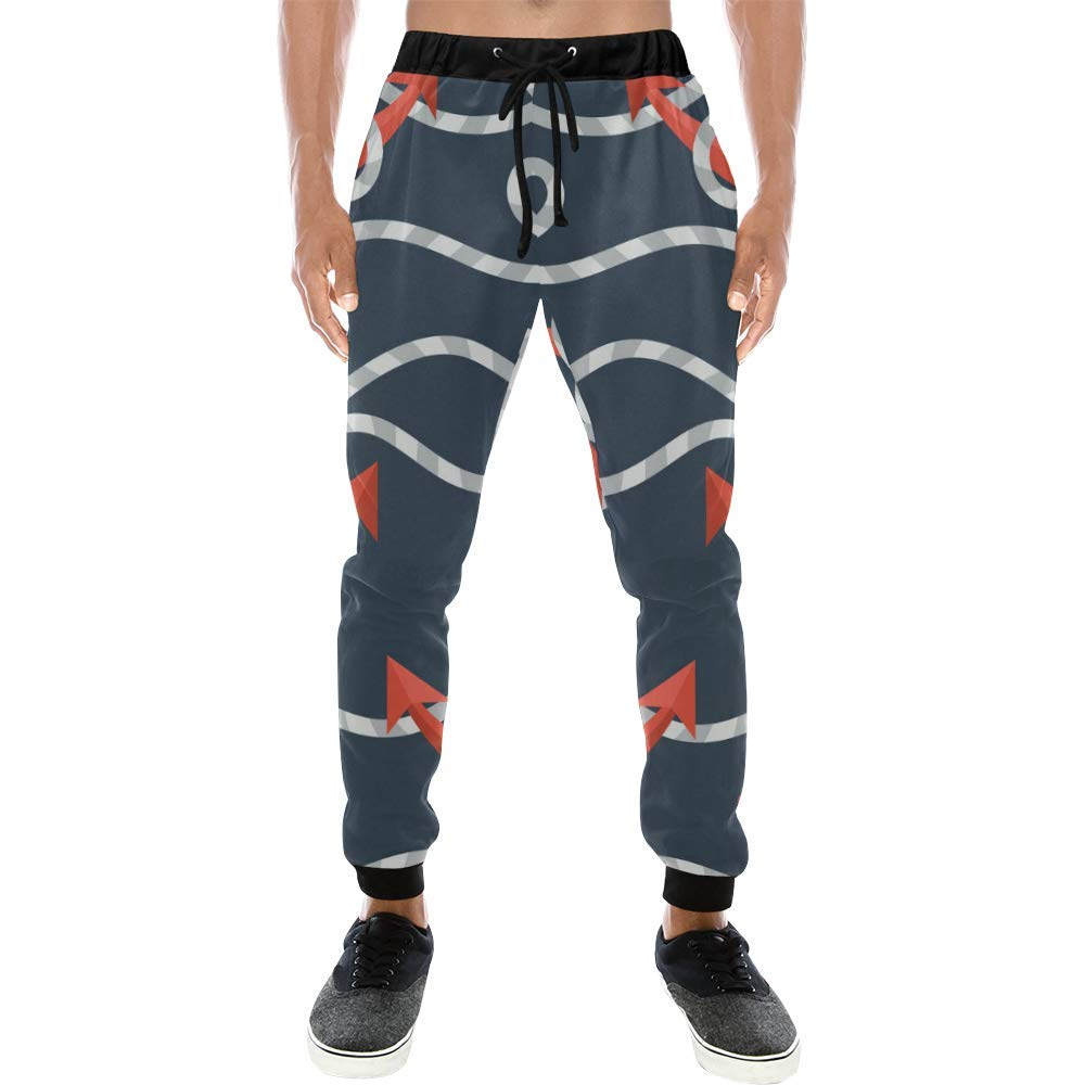 Mens Casual Baggy Slacks Anchors Navy Print Pants Sweatpants