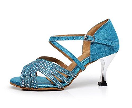 Minishion Womens Cross Strap Cristalli Sandali Scarpe Da Ballo Latino Scintilla Sandali Da Sposa Blu