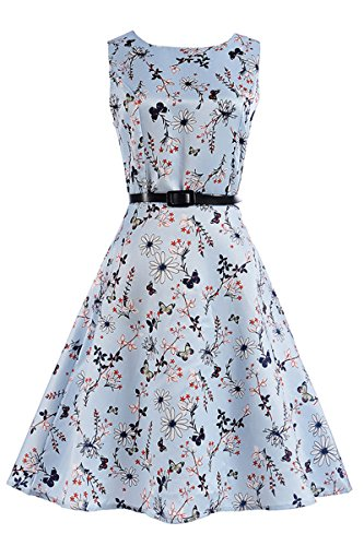 Price comparison product image Bai You Mei Mommy and Daughter Outfits Vintage 50s Floral Sleeveless Garden Party Dress Cocktail Swing Dress SIZE 9-10T