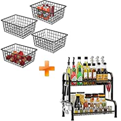 Kitchen Wire Storage Basket and Spice Rack, iSPECLE 4 Pack Black Wire Basket for Kitchen Pantry and 2 Tier Spice Rack for… spice racks