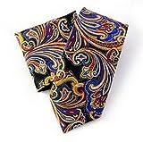 Jacob AleX #47172 Costume Paisley Men's Red Blue JACQUARD WOVEN Necktie Pocket Hankerchief