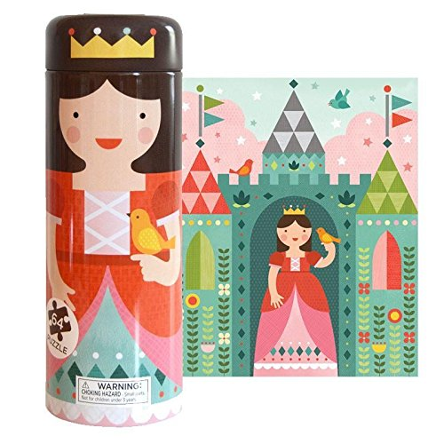 Petit Collage Tin Canister Jigsaw Floor Puzzle, Royal Castle, 64 (Petit Tins)