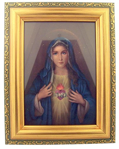 Italian Lithograph Blessed Virgin Mary Print in Antique Gold Tone Frame with Glass, 6 1/2 Inch