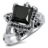 Smjewels 2.0 Ct Black Princess Cut Lotus Flower Sim.Diamond Engagement Ring 14K White Gold Fn