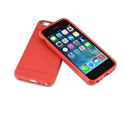 Coque Iphone se, BoxWave® [Slimgrip Coque avec chargeur Porte-clés Bonus] slim, durable, antidérapant se, Coque en TPU pour Apple iPhone 5S, 5–Rouge écarlate