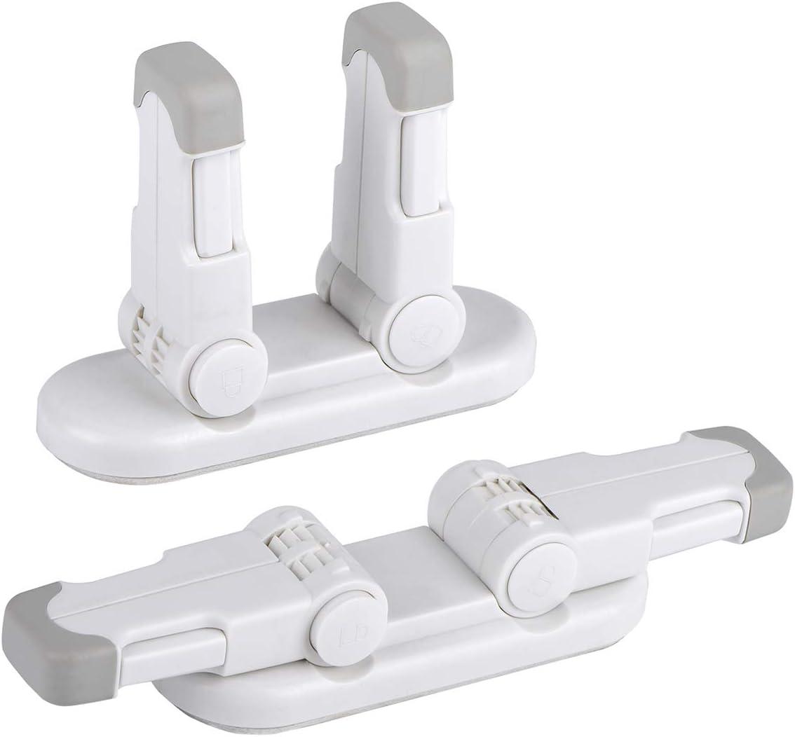 Bloqueo de Seguridad para Bebés[Mejorado], REDTRON Pack 2 Bloqueo de la Palanca de la Puerta para Niños con 3M Adhesivo, Bloqueo de Seguridad para Puertas usar para Golpecito, Puertas y Ventanas