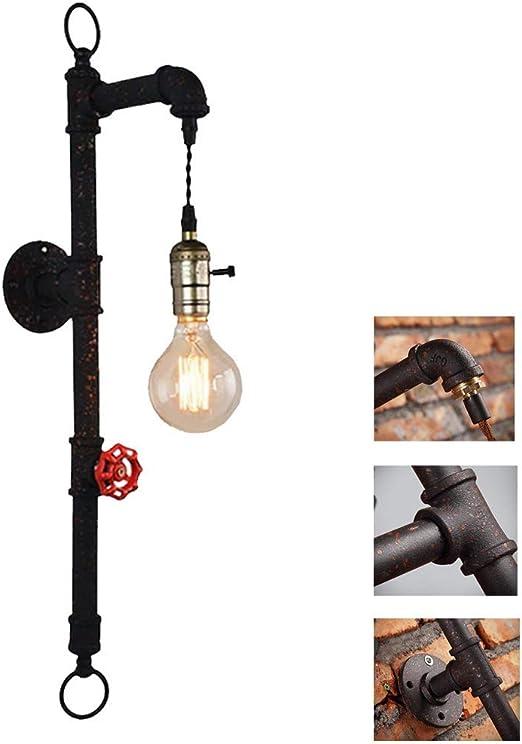 CattleBie Antiguo del metal rústico estilo industrial lámpara de pared del tubo de agua lámpara de