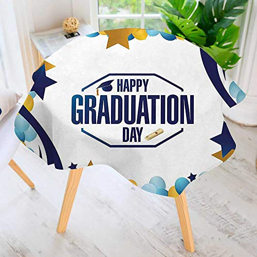 UHOO2018 Round Tablecloth Polyester-Graduation Day Party Logo with Stars Balloons Ribbons Artsy Picture Yellow Blue Great for Buffet Table, Parties, Holiday Dinner & More 63