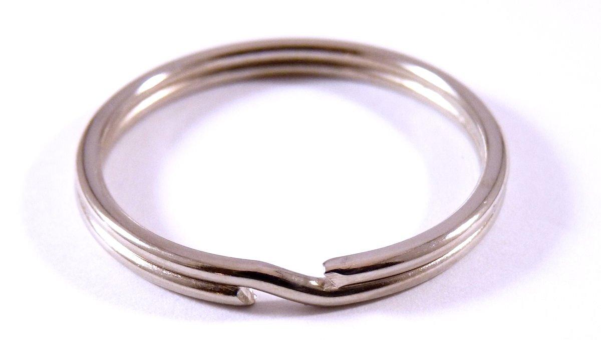 Anillas para llavero de acero galvanizado, fácil apertura, 30 mm, 100 unidades