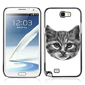 Designer Depo Hard Protection Case for Samsung Galaxy Note 2 N7100 / Kitty Cat Pencil Painting