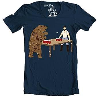 Sharp Shirter Bear Pong T Shirt Beer Pong Tee Funny Shirts Graphic T-Shirt for Guys (Small, Navy Blue)