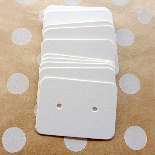 200 PCS Earring Display Cards,White Paper Earrings Tags, 1'' x 1.4'' Ear Stud Earring Card (White) ()