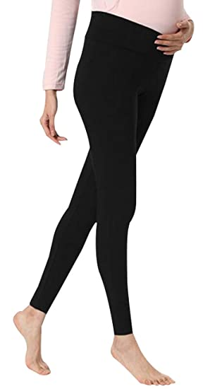 fc137449f684b Foucome 2 Pack Women's Maternity Legging Under The Belly Super Soft Support  Seamless Elastic Pants Black at Amazon Women's Clothing store: