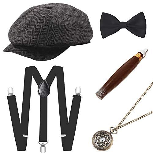 BABEYOND 1920s Mens Gatsby Gangster Costume Accessories Set Manhattan Fedora Hat Suspenders (Set-10)