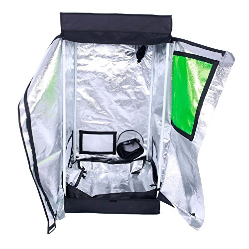 Oppolite 24″x24″x48″ T-Door Indoor Grow Tent Room 600D Reflective Diamond Mylar Hydroponic Garden Growing Plant with Plastic Corner (24″x24″x48″T-Door) For Sale